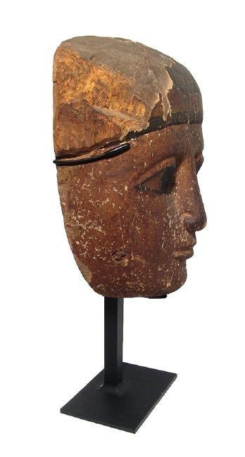 A beautiful Egyptian wood 'mummy' mask, Late Period - 2