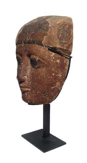 A beautiful Egyptian wood 'mummy' mask, Late Period - 3