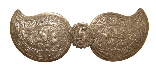 A gilded Ottoman silver-alloy buckle