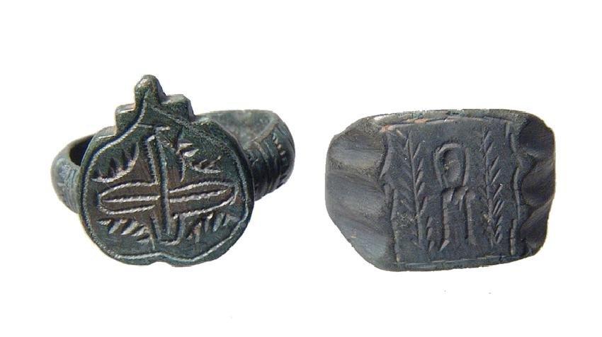 Pair of nice Roman/Byzantine to Medieval bronze rings