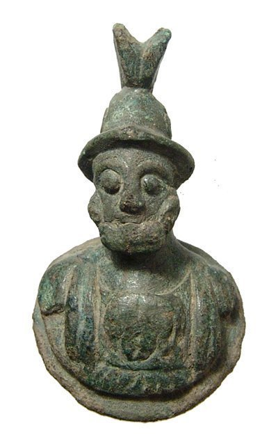 A Roman bronze mount in the form of a bust of Mars