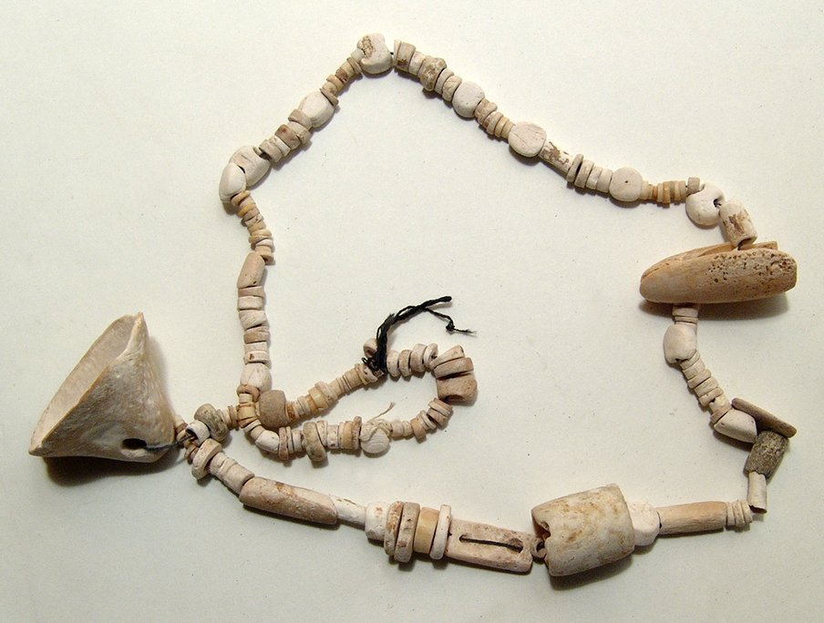 A long strand of Michoacan shell beads, Mexico