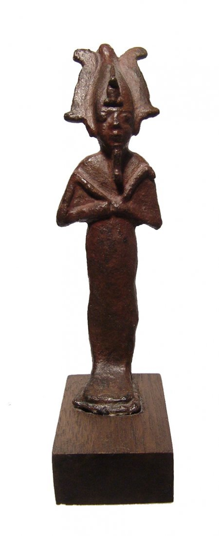 A fantastic Egyptian bronze figure of standing Osiris
