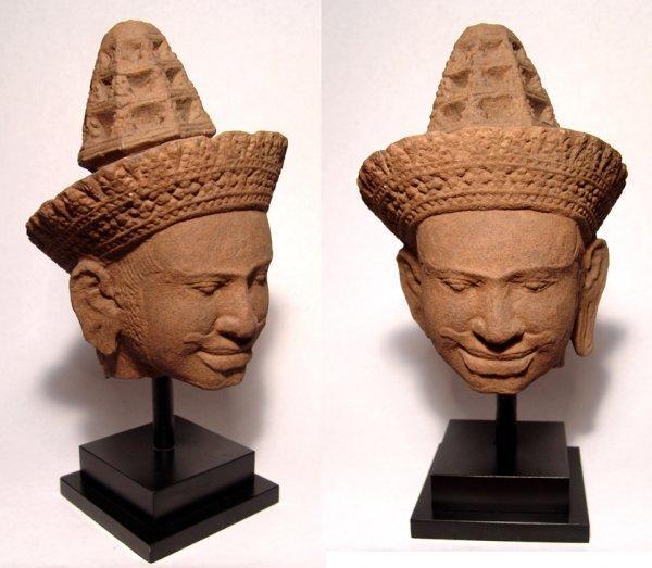 Wonderful Khmer sandstone head of a male temple deity