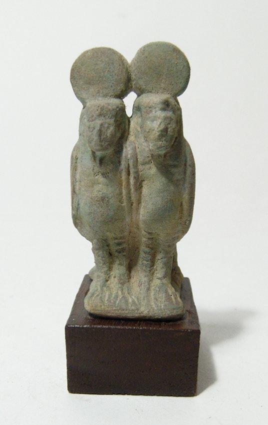 Egyptian glazed composition double Ba bird figurine