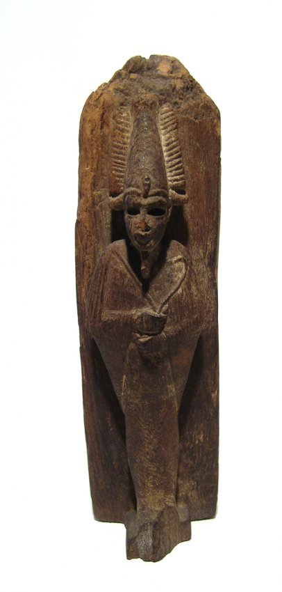 An extremely rare Egyptian wood obelisk with Osiris