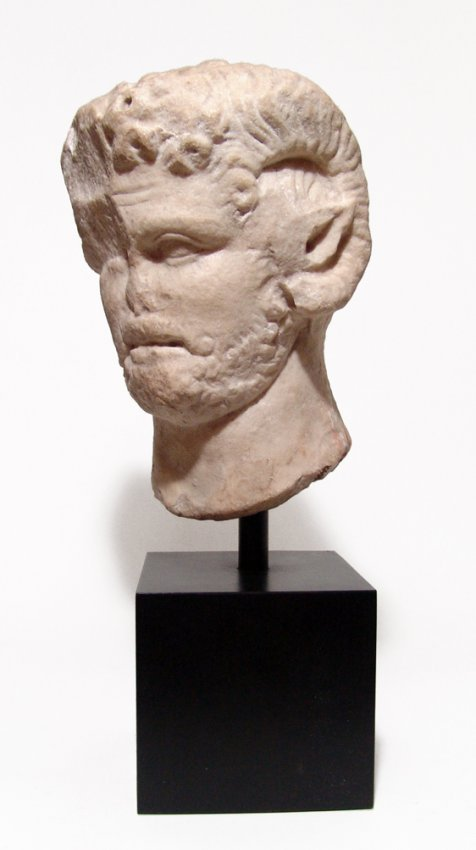 Graeco-Roman satyr head with attributes of Zeus-Ammon