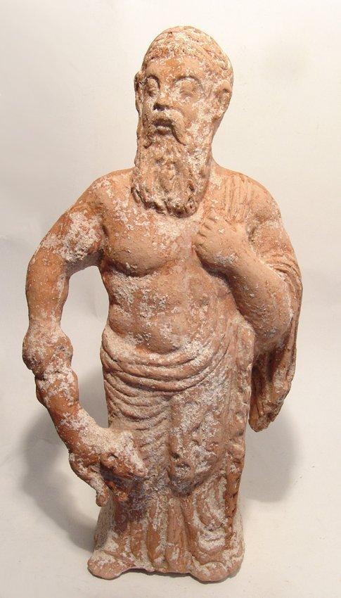 20 inch tall Greek terracotta bearded deity w/ ram