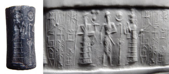 A beautiful Old Babylonian hematite cylinder seal