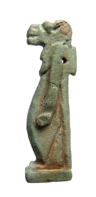 Large Egyptian green-glazed faience amulet of Taweret