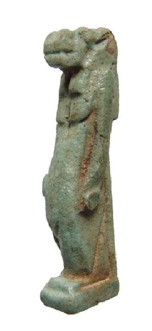 Large Egyptian green-glazed faience amulet of Taweret - 2