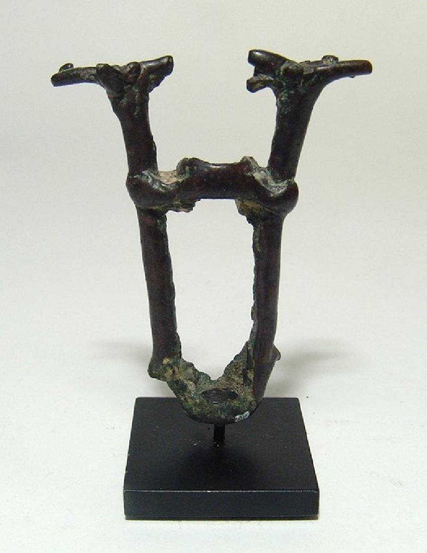 A Near Eastern bronze finial depicting two stags - 2