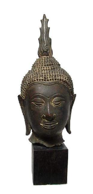 A choice Lana bronze Buddha head from Thailand