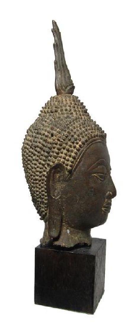 A choice Lana bronze Buddha head from Thailand - 3
