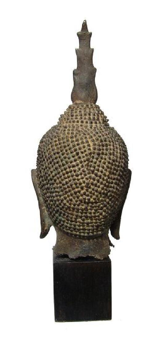 A choice Lana bronze Buddha head from Thailand - 4