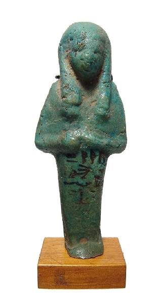 Egyptian green glazed faience ushabti for Un-Nefer