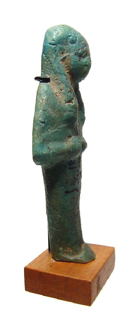 Egyptian green glazed faience ushabti for Un-Nefer - 2