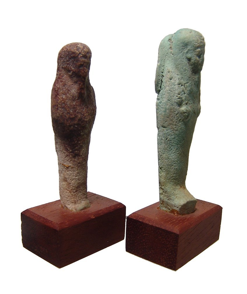 A pair of Egyptian faience ushabtis, Late Period - 2