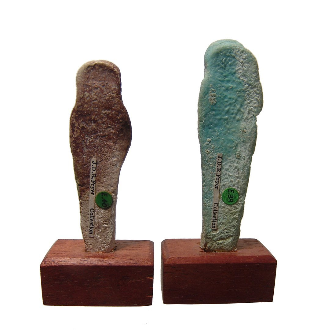 A pair of Egyptian faience ushabtis, Late Period - 3