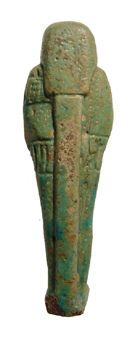 An Egyptian green faience ushabti, Late Period - 3