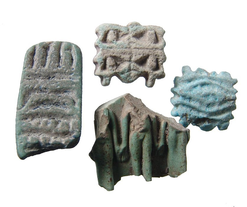 4 Egyptian amulets including Triad amulet fragment