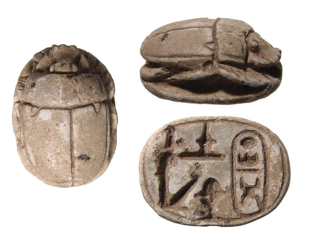Egyptian steatite scarab with cartouche of Thutmose III