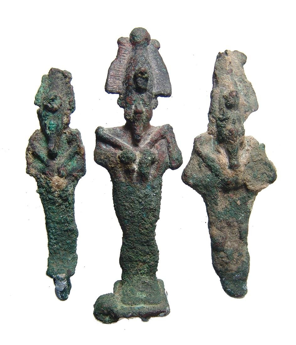 A group of 3 Egyptian bronze Osiris figurines