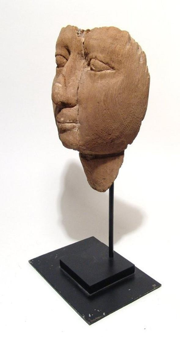 Egyptian wooden mummy mask with naturalistic detail - 2