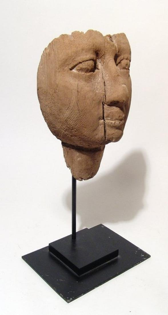 Egyptian wooden mummy mask with naturalistic detail - 3