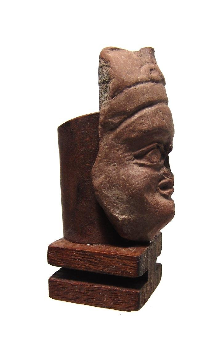 A Roman-Egyptian terracotta head of a pharaoh - 2
