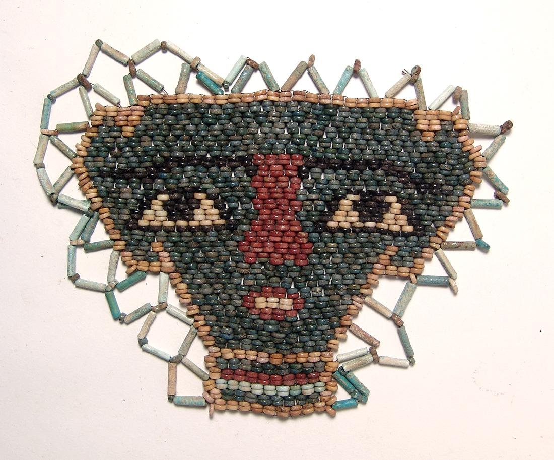 Beautiful Egyptian faience beads shaping a face mask - 2