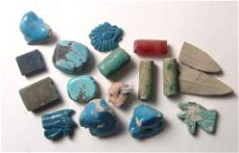 A mixed group of Egyptian faience objects, Late Period