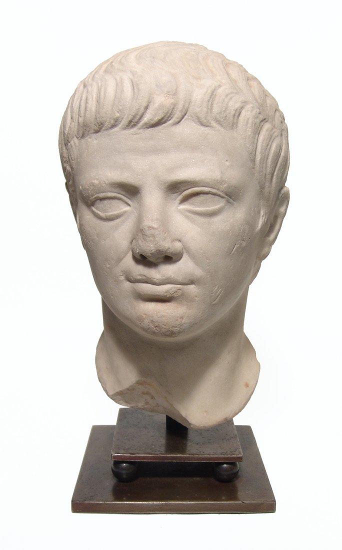 A choice Roman marble head of a man, Julio-Claudian