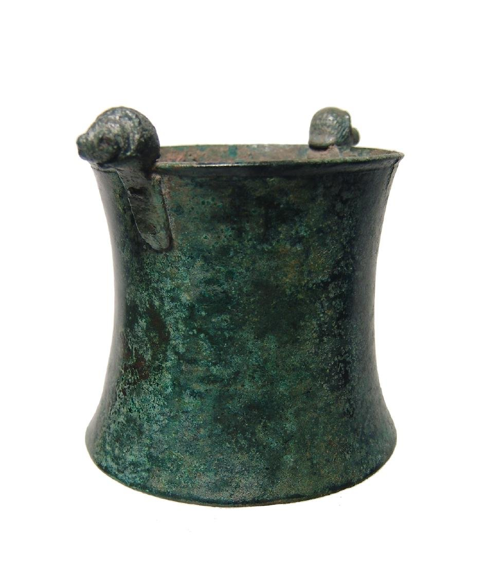 A choice Greek bronze cup with lion-headed knobs - 6