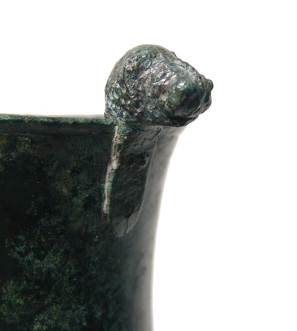 A choice Greek bronze cup with lion-headed knobs - 7