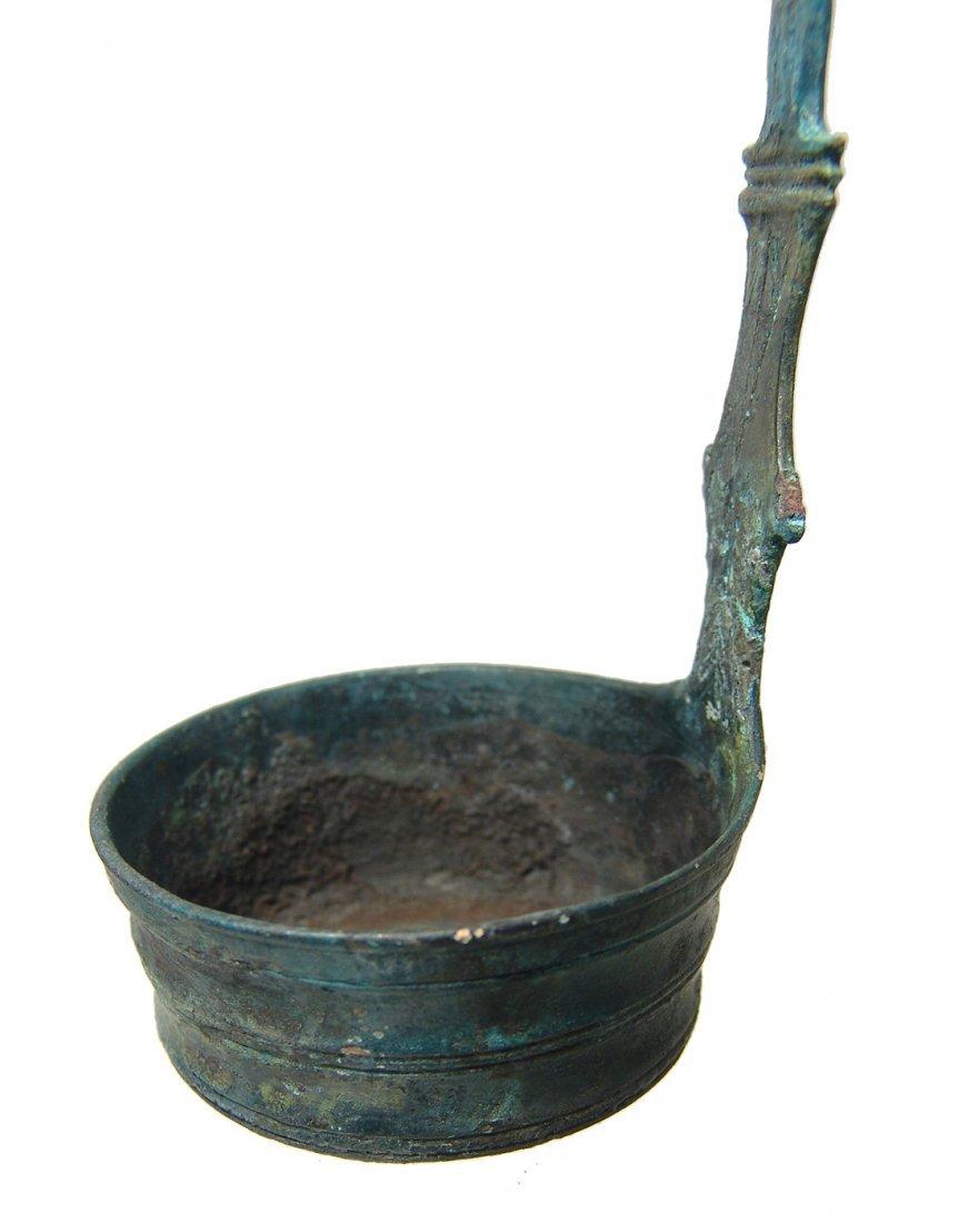 A choice Roman decorated bronze ladle - 5