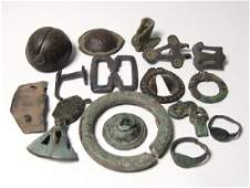 A mixed group of bronze objects, Roman to Medieval
