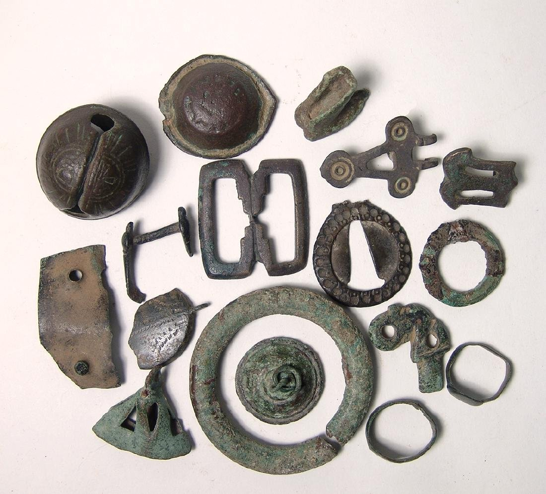 A mixed group of bronze objects, Roman to Medieval - 2