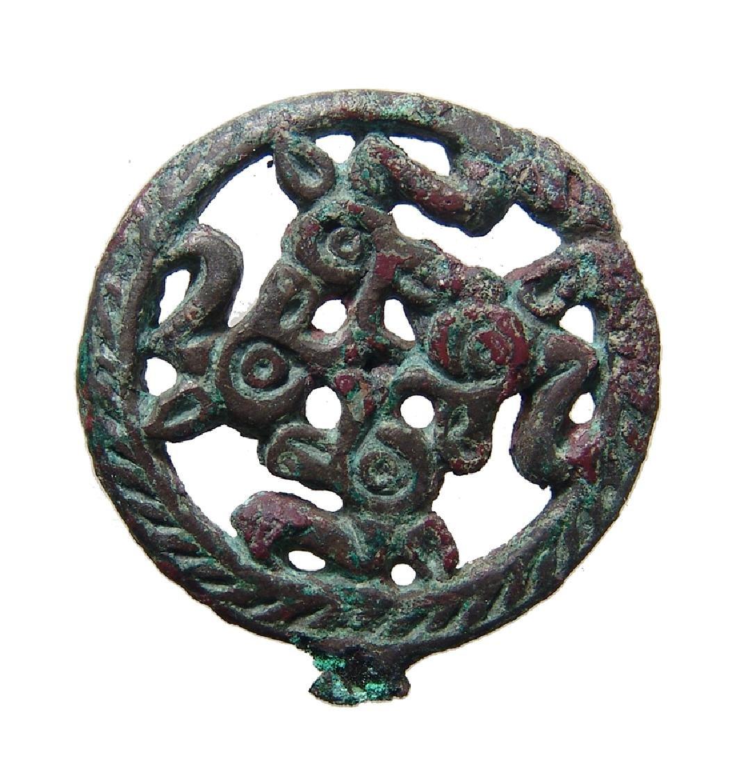 A charming Seljuk bronze finial, c. 12th - 13th Century