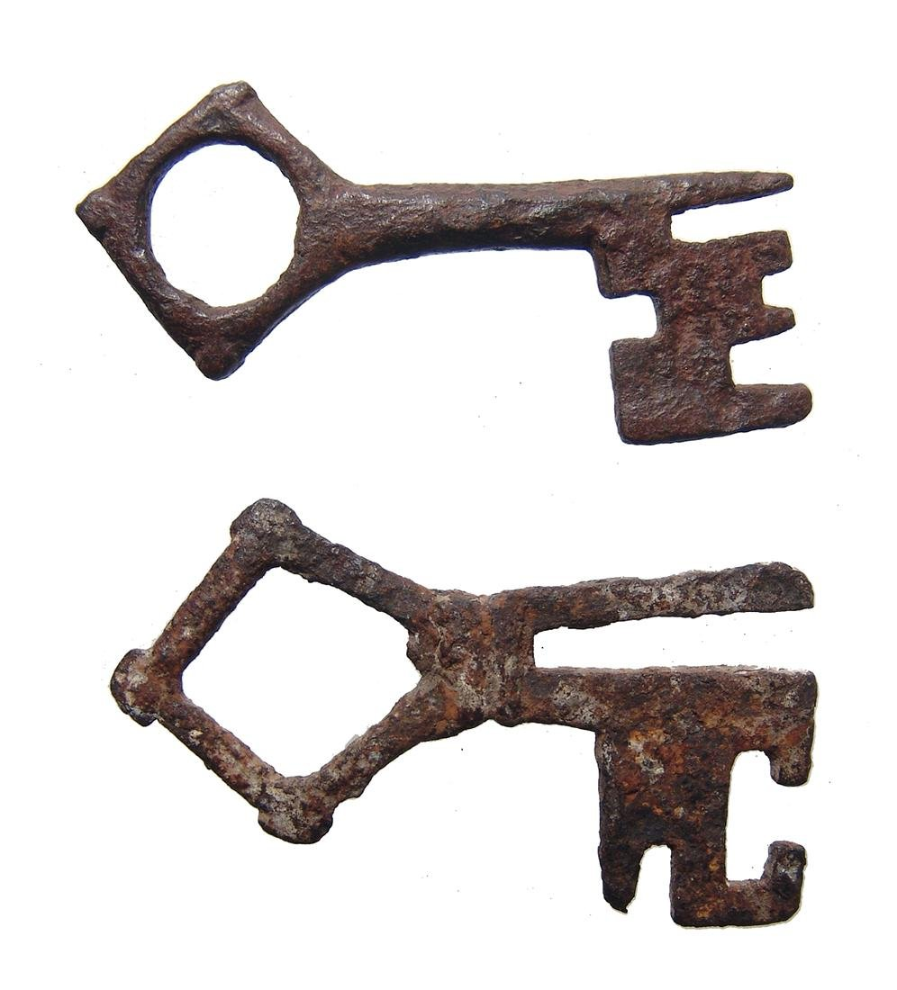A pair of late Medieval European iron keys