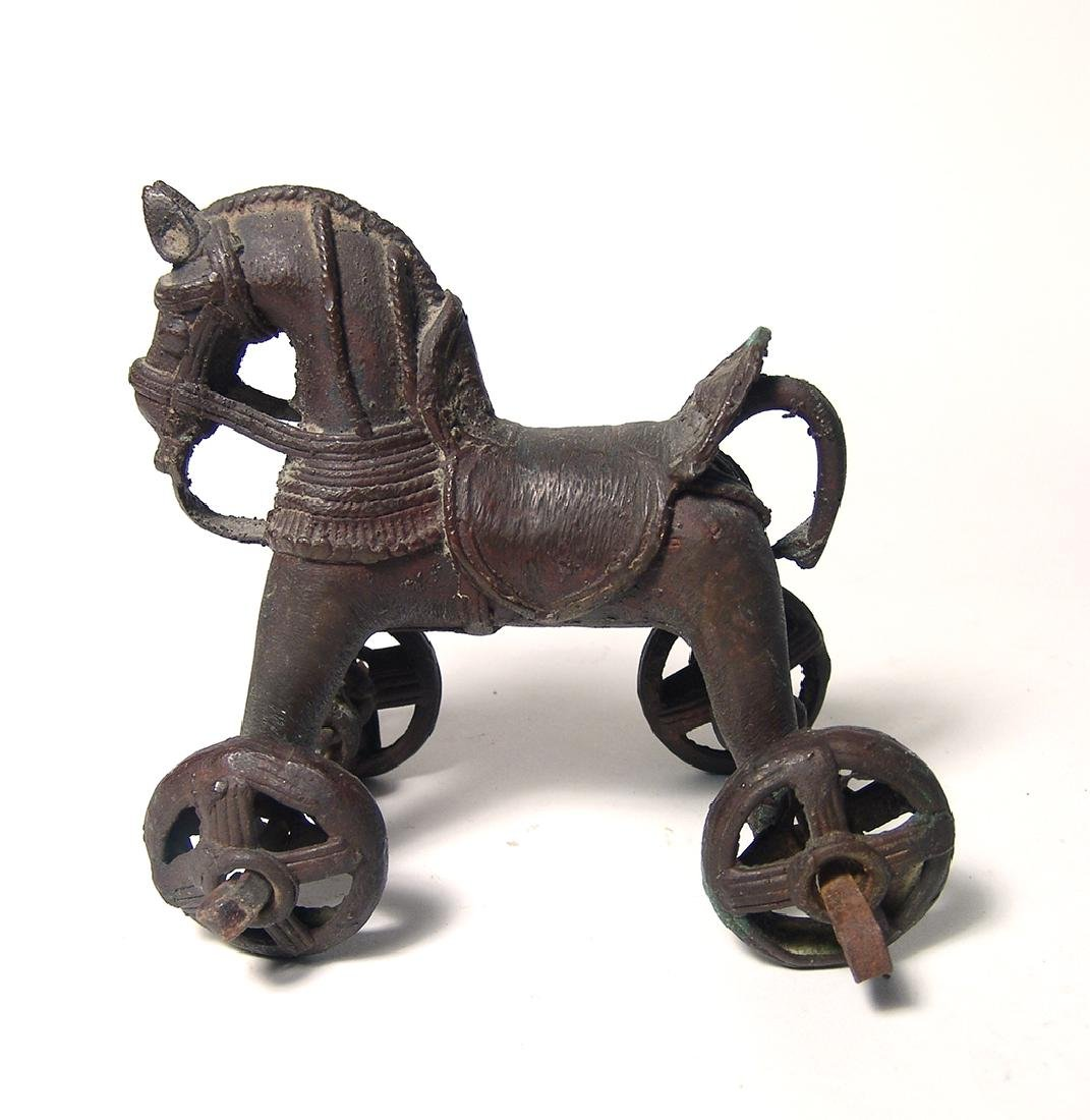 Attractive pair of Indian bronze horse & rider toys - 2