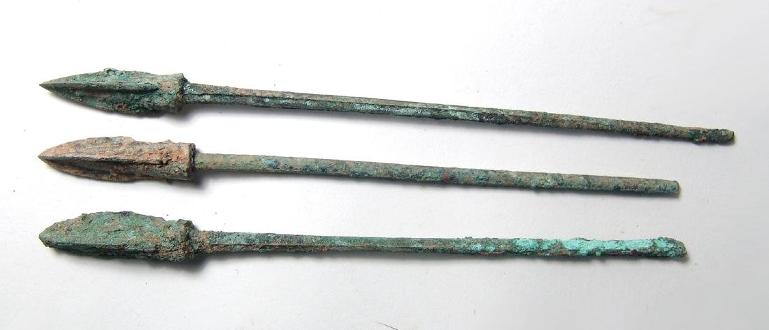 Group of 3 Chinese bronze arrow or ballista points, Qin