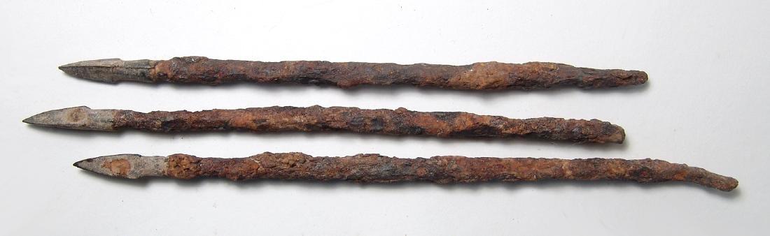 Group of 3 Chinese iron & bronze arrow/ballista points