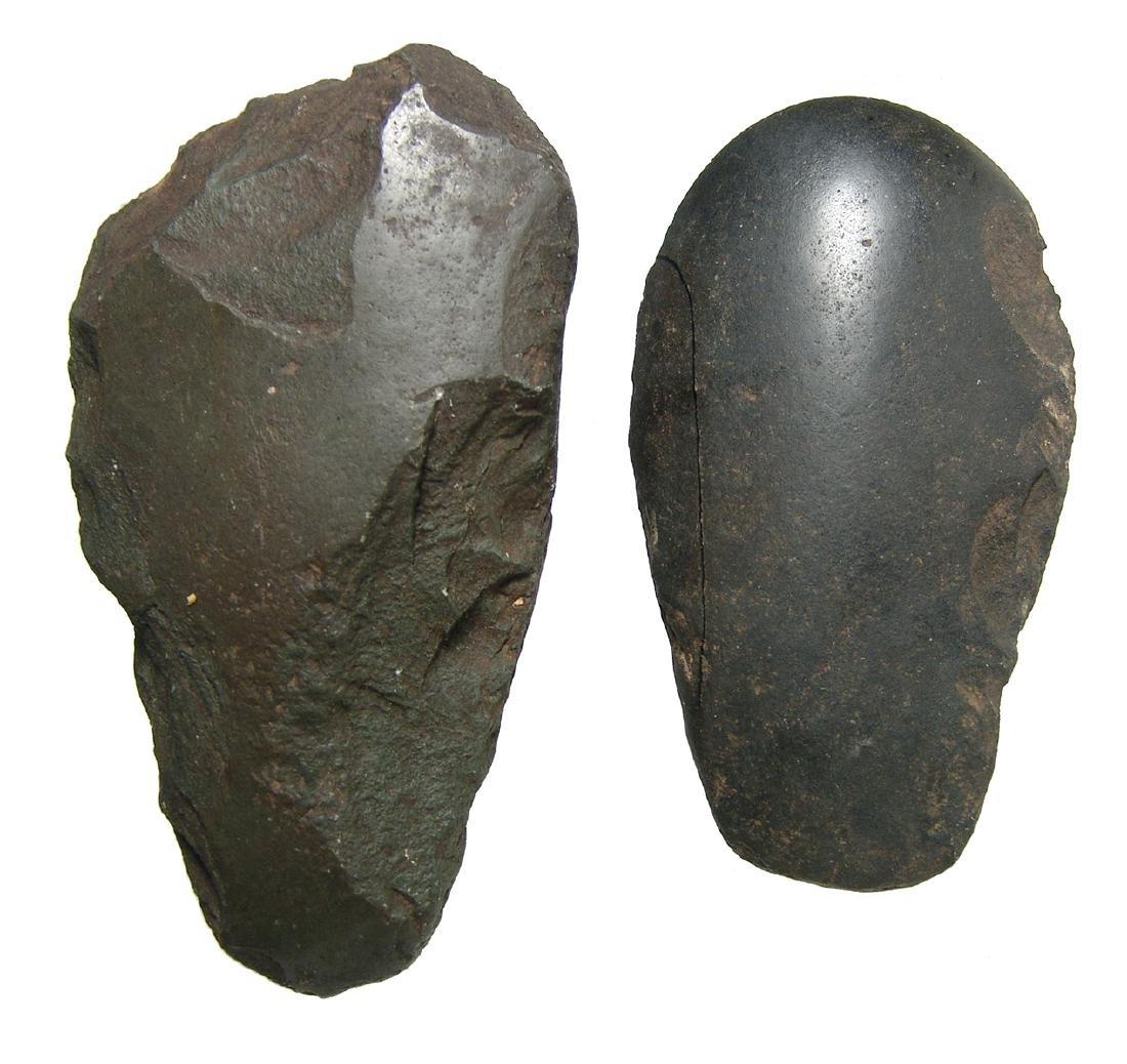 Pair of New Ireland stone axe heads, Papua New Guinea