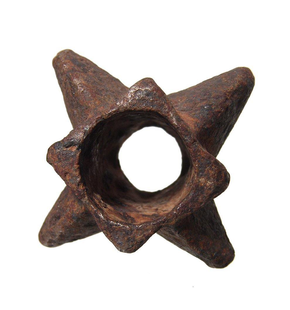A well-preserved Medieval knobbed iron mace head