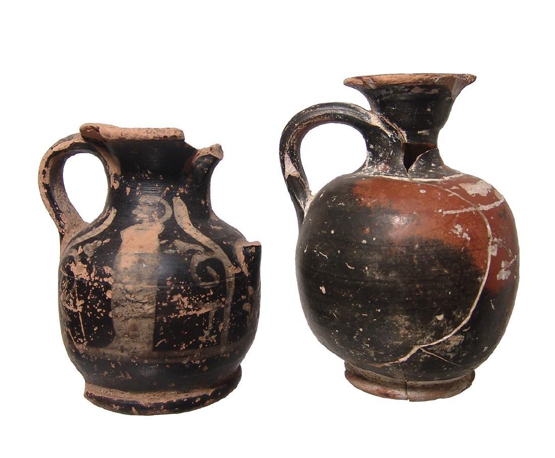 A pair of Greek squat lekythoi