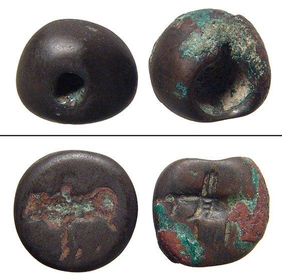 A pair of bronze Sasanian stamp seals