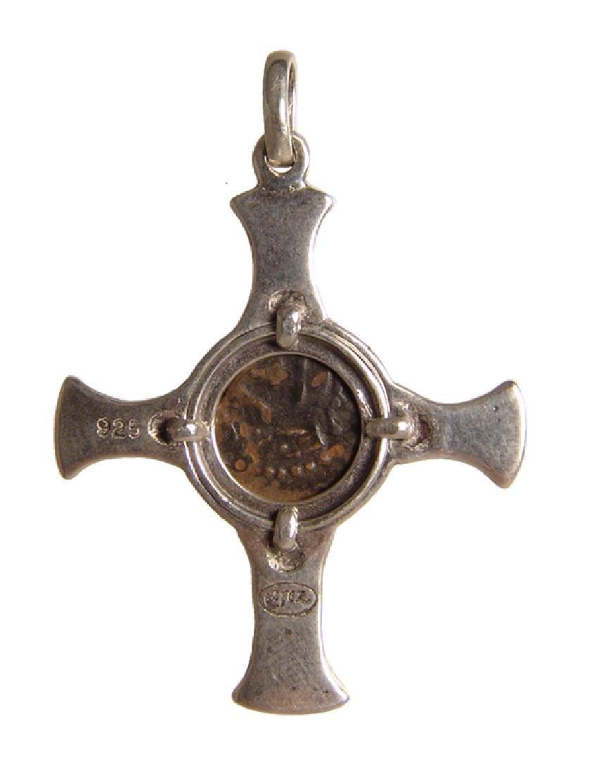 Judean 'Widow's Mite' set in a silver cross pendant - 2
