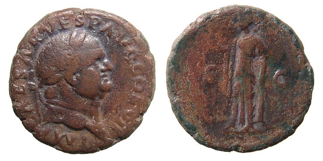 A nice bronze coin of the Roman emperor Vespasian