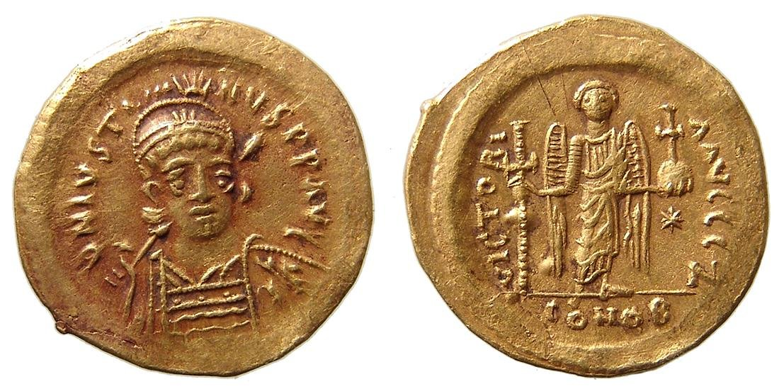 A Byzantine gold solidus of emperor Justin I